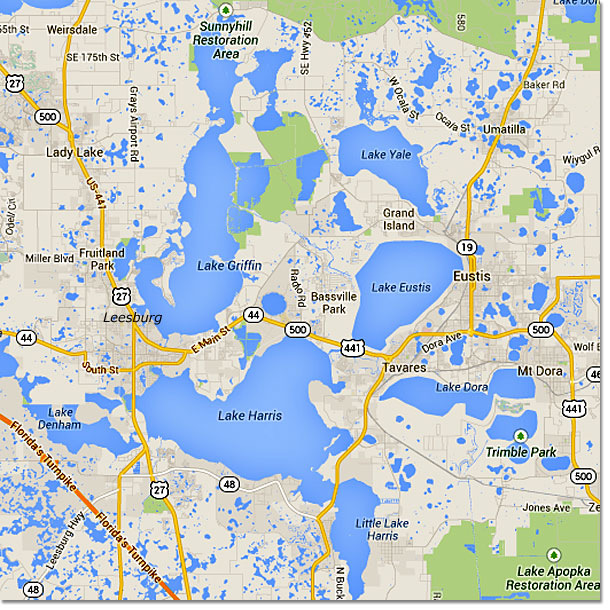 Map Of The Florida Harris Chain Of Lakes Central Florida - Map of florida lakes