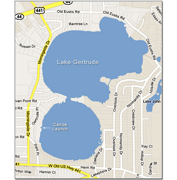 Map Of Lake Gertrude Mount Dora Florida - Map of florida lakes