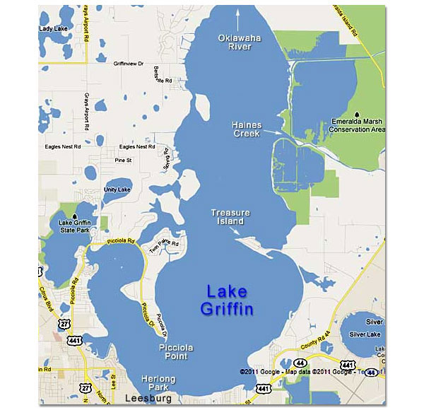 Map Of Lake Griffin In The Harris Chain Of Lakes Central Florida - Map of florida lakes